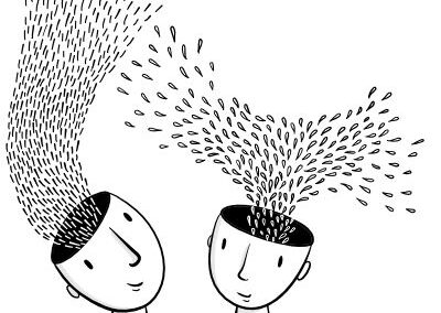 Head Spaces – Line illustration of hand-drawn heads with questions, ideas and a solution raising from their heads. Showing the process of creativity, brainstorming, collaboration and inspiration.
