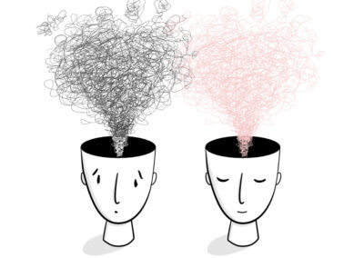 Head Spaces – Line illustration of hand-drawn heads with thoughts raising from their heads. Showing the process of letting go of worry by calming the mind.